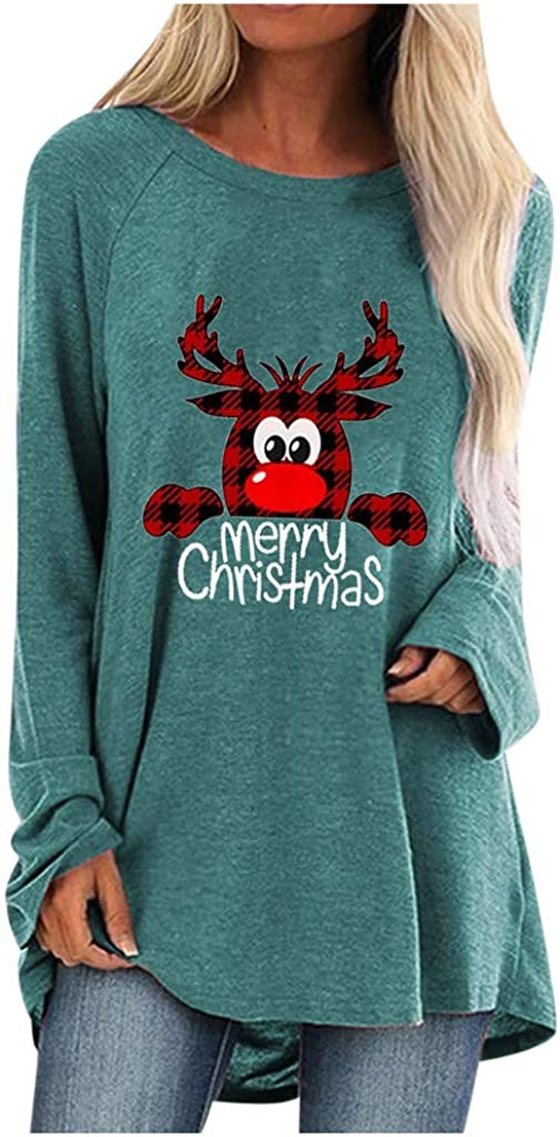 Long Sleeve Shirts for Women,Women's Christmas Printed Sweatshirt Teen Girls Long Sleeve Casual Crew Neck Tops