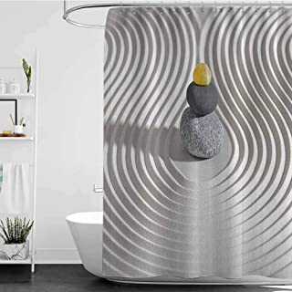 homecoco Shower Curtains Texas Spa Decor,Three Hot Massage Stones in The Middle of The White Sand Shaped Waves,Grey and Yellow W69 x L90,Shower Curtain for clawfoot tub