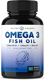 Omega 3 Fish Oil 3600mg, 180 Capsules - EPA 1296mg, DHA 864mg Fatty Acids - Omega-3 Burpless Pills - Highest Concentration...