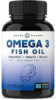 Omega 3 Fish Oil 3600mg, 180 Capsules - EPA 1296mg, DHA 864mg Fatty Acids - Omega-3 Burpless Pills - Highest Concentration...