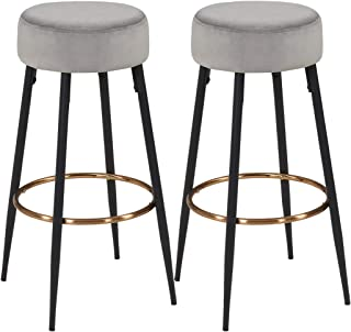 Duhome Set of 2, Bar Stools, Height 31 Inches, Kitchen Breakfast Round Modern Velvet Barstool,Dining Chair Height Gray