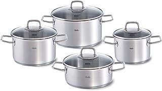 Fissler viseo / Juego de ollas de acero inoxidable, 4piezas (3 ollas de cocción, 1 rustidera) con tapadera de vidrio y apto para cocinas de inducción, gas, vitrocerámica y eléctricas