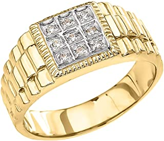 Men's Fine 10k Yellow Gold Diamond Square Watch Band