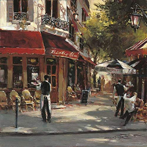Rahmen-Kunst Keilrahmen-Bild – Brent Heighton: Bistro Waiters Leinwandbild Strassen-Cafe Idylle Nostalgie Paris