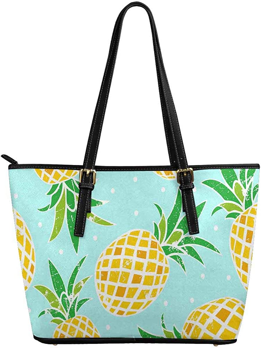 INTERESTPRINT Pattern of Pineapple Women Totes Top Handle HandBags PU Leather Purse