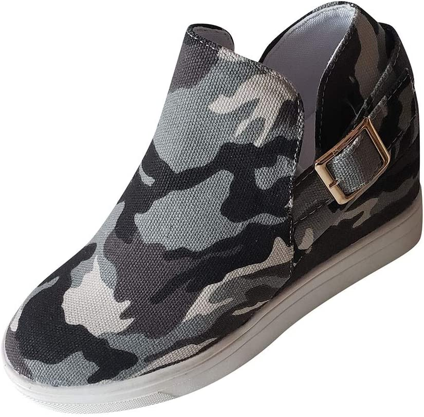2020 PerhapsRio Sneakers for Women,Camouflage High Top Breathable Slip-on Sneakers Lightweight Non-Slip Walking Shoes Casual Lazy Shoes Plus Size