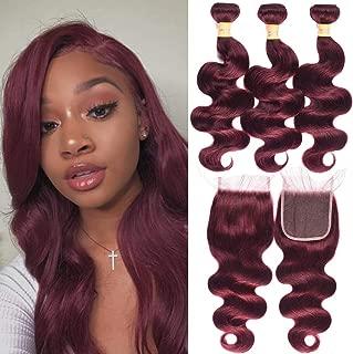 WOME 8A Burgundy Hair Bundles with Closure Color 99J Body Wave Bundles with Closure Brazilian 100% Unprocessed Virgin Human Hair Weaves(16 18 20+ 16 Closure)