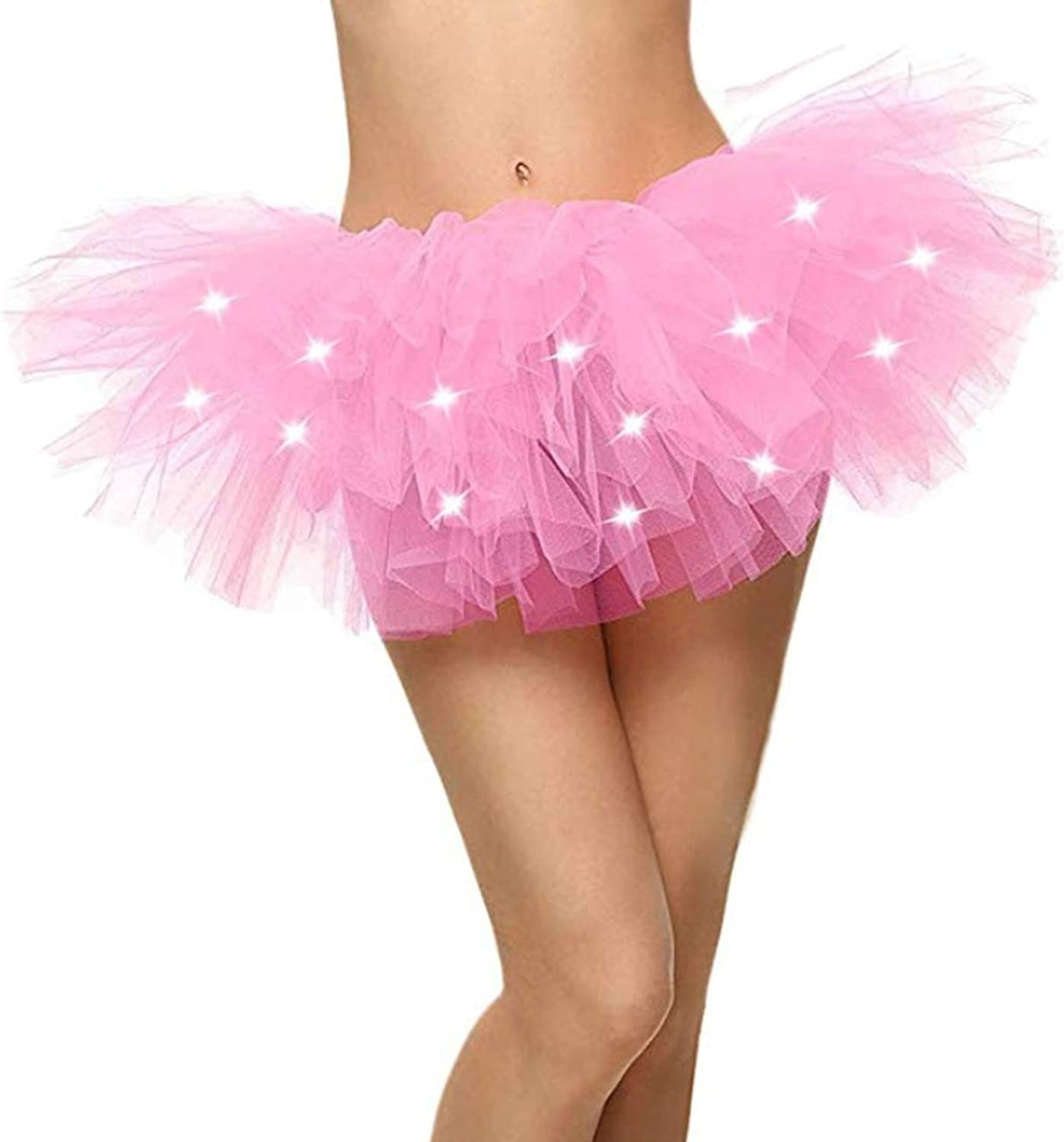 Naokenu Women Classic 5 Layered Tulle Tutu Skirt Led Light Up Neon
