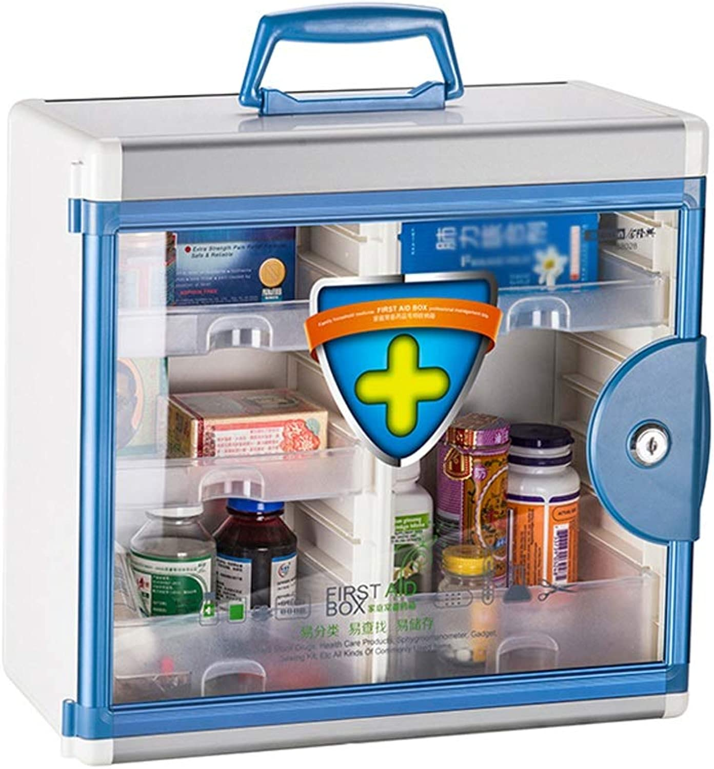 Djyyh First Aid Box Wall Mounted Medical Box, Pharmacy, Aluminium Combination Key Cabinet + Security Glass Door Lockable