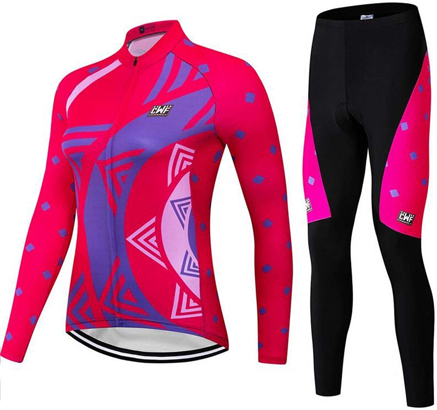 Women Cycling Clothing Set Sportswear Road Mountain Bicycle Bike Outdoor Full Zip Long Sleeve Cycling Jersey 3D Padded Pants Trousers Breathable QuickDry