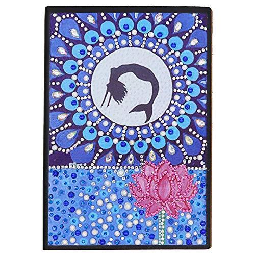 Cuaderno A5 de punto de cruz con diseño de diamantes, notebook A5 tapa dura cuaderno sirena diario niña creativo para escribir notas y libros de dibujo para niños, 60 hojas, 120 páginas