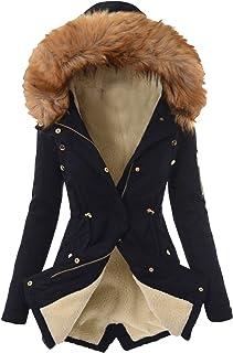 Darringls Winterjas met bont voor dames, lange winterjas, gevoerd, warme parka, camouflage, watervaltrui, dikke functionel...