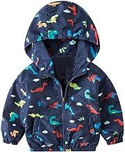 BTGIXSF Baby Boys Lightweight Jackets Kids Toddler Dinosaur Hooded Zip Windbreaker Coat