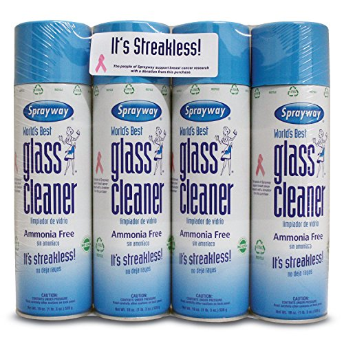 Sprayway Glass Cleaner Aerosol Spray, 19 oz, 4 Pack