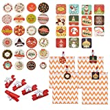 Souarts 38Pcs Christmas Stickers Bags 25Pcs Red Snowflake Wooden Clothespins 25pcs Paper Party Bat Best for DIY Crafts