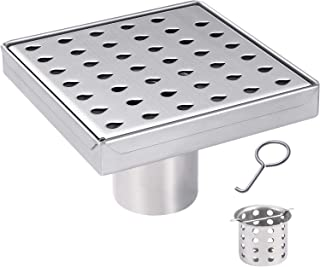 JOMAY Square Shower Drain 5 Inch with Removable Droplets Pattern Grate Cover, Fast Drainage Shower Floor Drain for Bathroom, Rustproof Brushed SUS304 Stainless Steel with WATERMARK&CUPC Certified