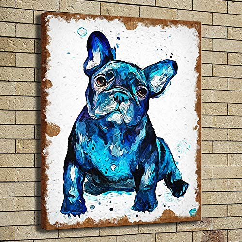 HYFBH HD Canvas Wall Art Picture Print Animal French Bulldog Picture for Living Room Home Decor Oil Painting 30x40cm(11.8x15.7 inch) No Frame