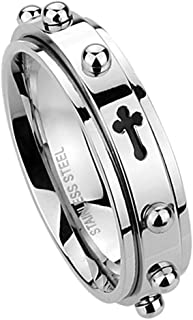 Double Accent 6MM Stainless Steel Cross Rosary Spinner Praying Ring