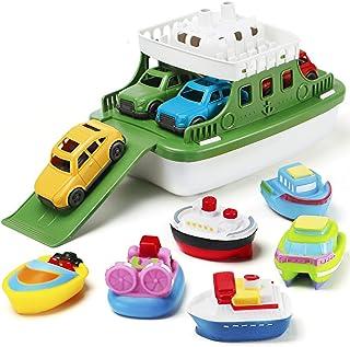 Nasidear Bath Boat Toy,11 Piece Bath Boat Toy with 4 Mini Cars and 6 Boat Squirters,Floating Boat Toys for Bathtub Bathroo...