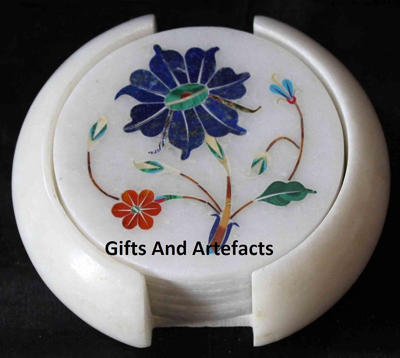 contador genuino 3,5'blancoo mármol Lapis Lapis Lapis Lazuli Simple flor Art posavaños de té con juego de 6Royal obra maestra  aquí tiene la última