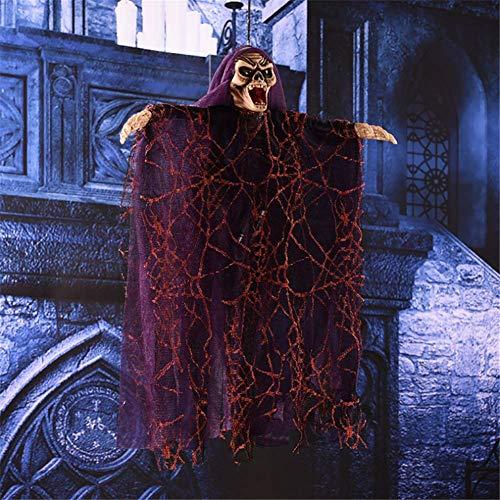 JiuXiuHeiShan-MY Halloween Ghost Skeleton Hanging Party Decoration Scary Halloween Costume Mask con Control De Sonido Eléctrico Hanging Ghost Props,Purple Hat