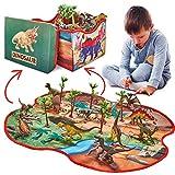 Prehistoric World - Juguete con Forma de Dinosaurio - 12 Figuras de Dinosaurios - Caja de Almacenamiento 2 en 1 - Juguetes para niños de 3 años en adelante