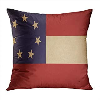 Suike Throw Pillow Cover Confederate Armys First National Flag Vintage Hidden Zipper Home Sofa Decorative Cushion Case 18x18 Inch Square Printed Pillowcase