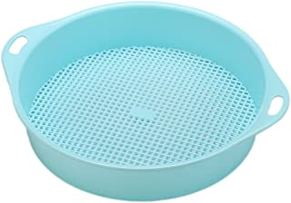 Yardwe Garden Sieve Riddle Sifting Pan for Soil Stone Mesh Gardening Tool with Handle (Blue)