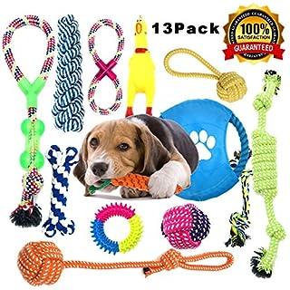 Perfektes 13 teiliges Spielzeugset: Damit können kleine, mittelgroße und sogar große Hunde ihre Spielzeit genießen. Spielzeuge aus reiner Baumwolle eignen sich sehr gut für Zerr- und Beutespiele. Diese Hundespielzeuge sind auch ideal für Tauziehen un...