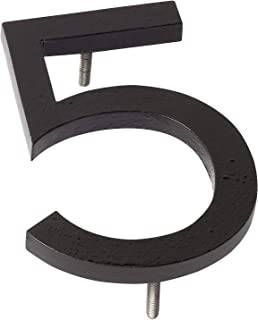"""Montague Metal Products MHN-08-F-BK1-5 Floating House Number, 8"""" x 6"""" x 0.375"""", Black"""