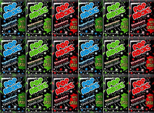 Pop Rocks Candy Variety Pack 18 Packets Total (6 of Each - Watermelon, Strawberry, Tropical Punch)