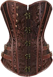 Hengzhifeng Corsets and Bustiers for Women Faux Leather Steampunk Carnival Party Top