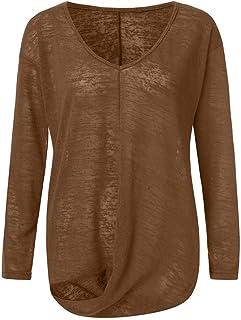 UJUNAOR Damen Langarm Sweatshirt Casual Unregelm/ä/ßig Tunika Herbst Mode Plus Size V-Ausschnitt Langarm T-Shirt Bluse Tops