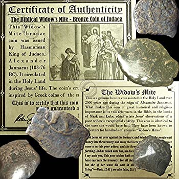 ONE 2000 Year Old Biblical Widow s Mite 103-76 BC Antique Roman Holy Land Coin from Jerusalem BEFORE JESUS in Mini Folder with Story Card and Certificate of Authenticity ISRAEL