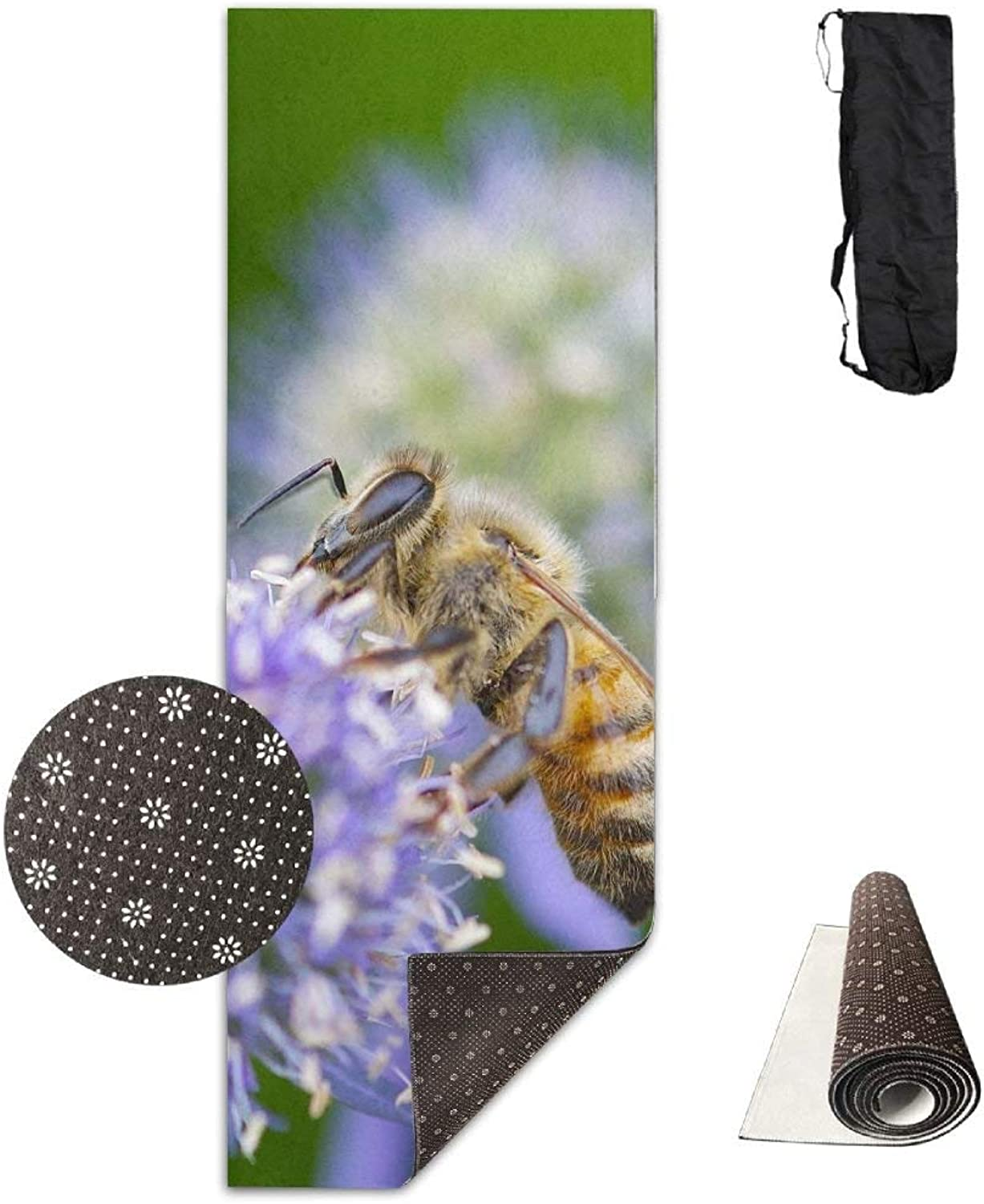 Honeybee Purple Flower Yoga Mat  Advanced Yoga Mat  NonSlip Lining  Easy to Clean  LatexFree  Lightweight and Durable  Long 180 Width 61cm