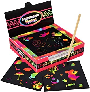 100 pcs Rainbow Scratch Paper, Scratch Off Mini Notes + 2 Wooden Stylus + 2 Drawing Template, Arts and Crafts, Rainbow & H...