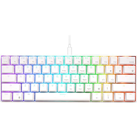 RK ROYAL KLUDGE RK61 Wired 60% Mechanical Gaming Keyboard RGB Backlit Ultra-Compact Hot-Swappable Blue Switch White