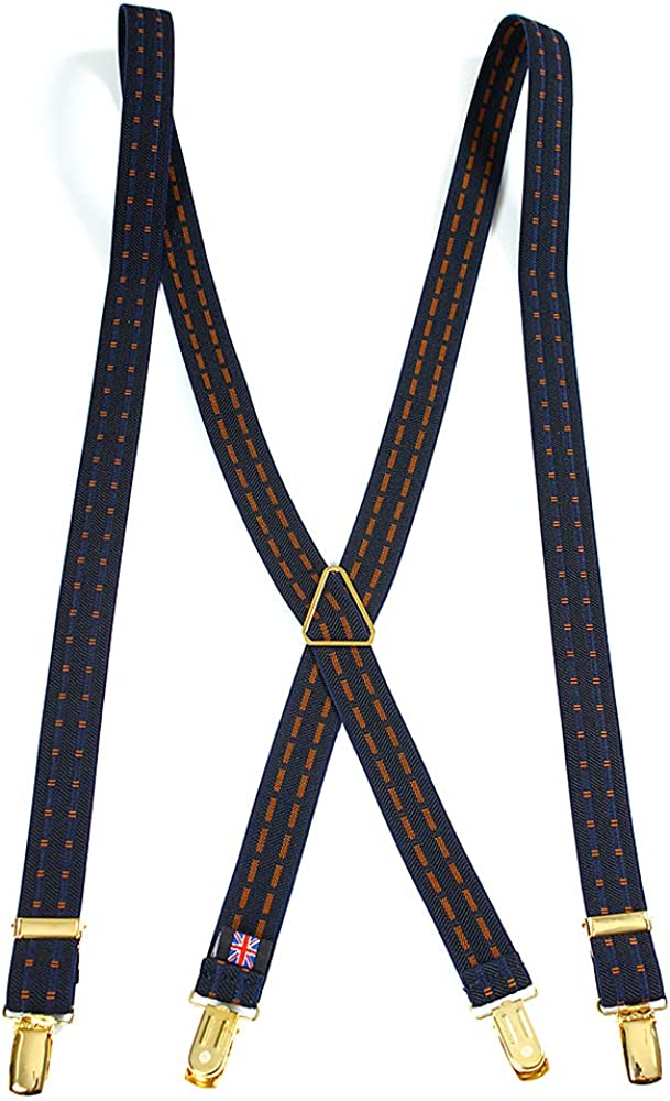 Albert Thurston Square doted pattern X-back Style Braces 1 inch Wide Suspender for handmade in England