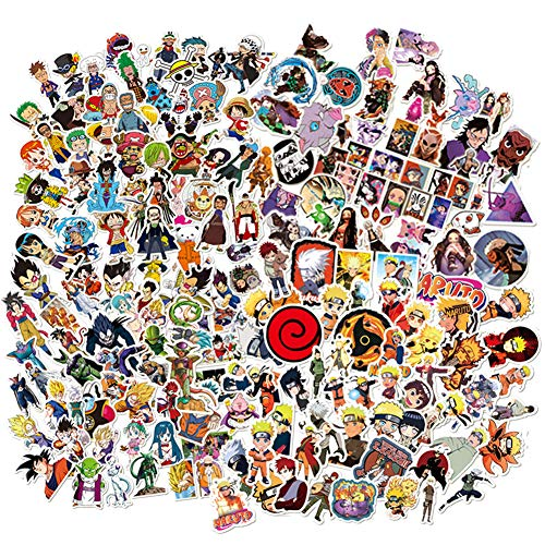 Naruto One Piece Dargon Ball z Demon Slayer Stickers 200 Pcs Pack Cool Vinyl Removable Anime Theme Cartoon Decals Decor for Desktop Laptops Water Bottle Luggage Skateboard Bicycle Decoration (Anime combination)