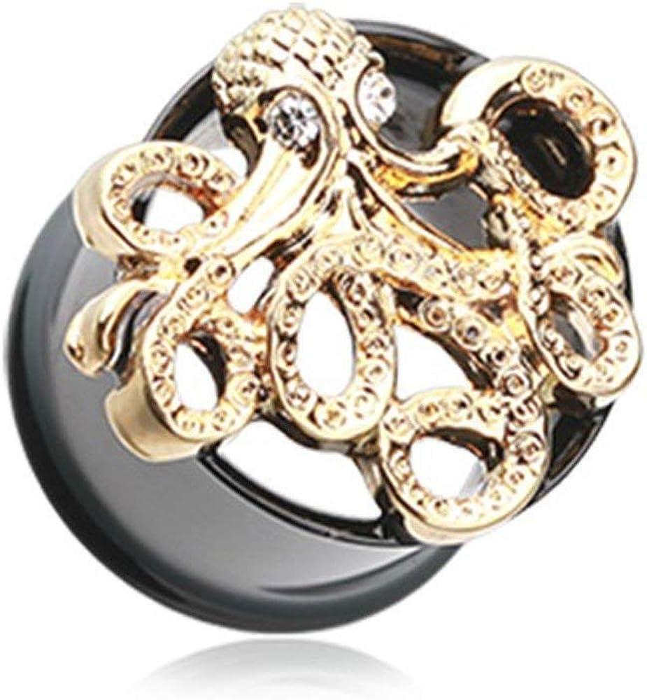 Covet Jewelry Golden Evil Octopus Ear Gauge Tunnel Plug