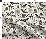 vintage halloween fabric - Spoonflower Fabric - Halloween Tan Black Vintage Retro Bat Skeleton Spooky Style Skeletons Printed on Petal Signature Cotton Fabric by The Yard - Sewing Quilting Apparel Crafts Decor