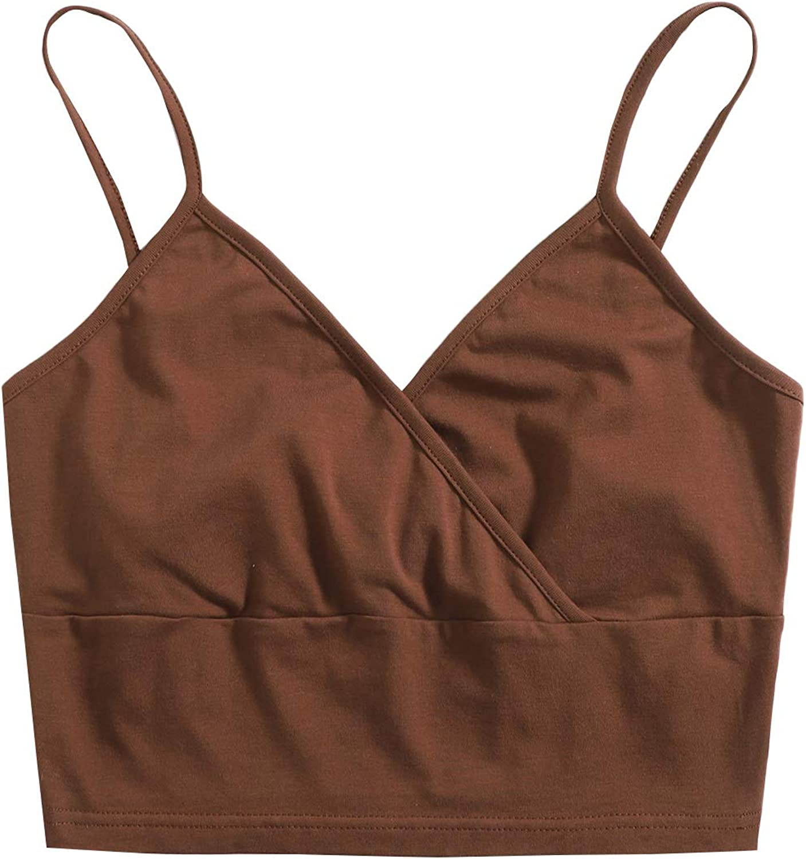Floerns Women's V Neck Basic Cami Crop Top Sleeveless Summer Strappy Tops