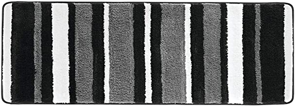 mDesign Striped Microfiber Polyester Rug, Non-Slip Spa Mat/Runner, Silicone, Black/Gray, Pack of 1