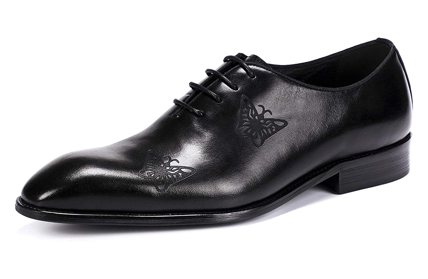 Oxford Shoes for Men Handmade Carved Butterfly Formal Leather Lace Up Mens Dress Shoes