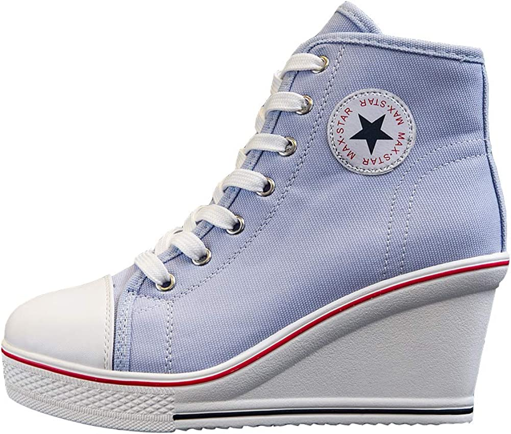 Hurriman Women's Wedge Sneakers Jacksonville Mall High Heel Shoes Max 60% OFF Canvas Lace H up