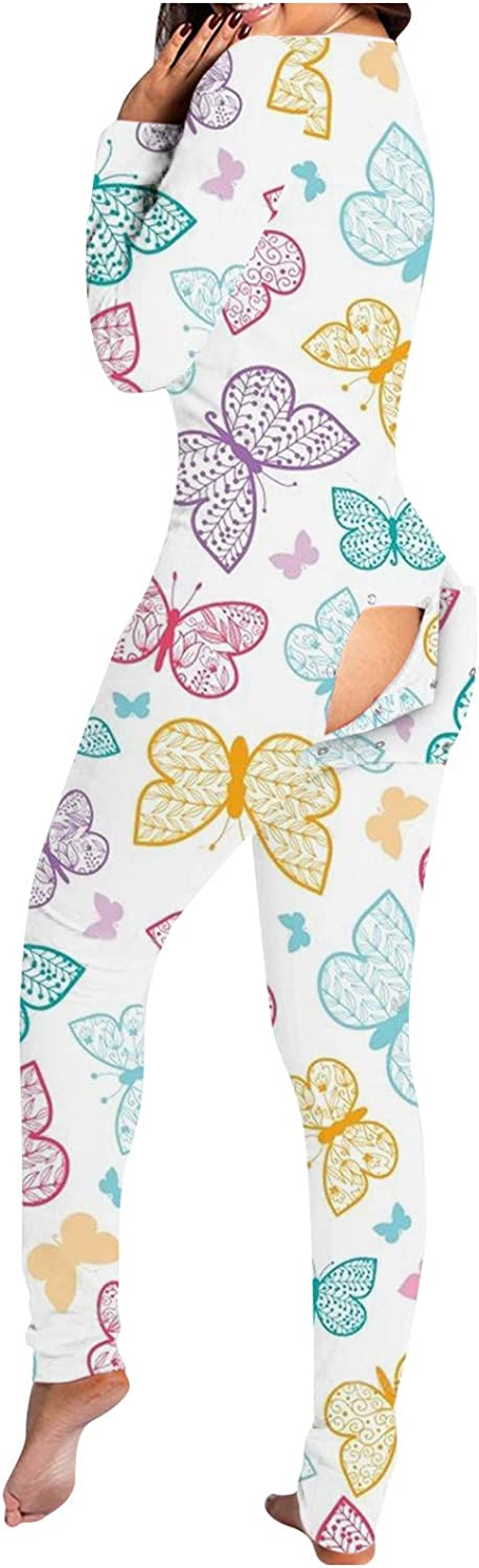 Forwelly Plus Size Jumpsuit for Women Long Sleeve Butterfly Print One Piece Romper Bodysuit Overall Onesies Pajama Clothes