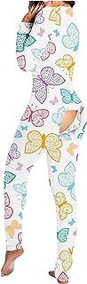 Pijamas Mujer de Una Pieza, Pijama Mujer Invierno,Mono de Mujer con Botones y Estampado de Mariposa Funcional con Solapa Abotonada para Adultos