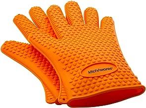 橙色耐热硅胶手套 - 非常适合用于厨房处理 所有高温食物 - 隔热垫 - 防护性烤箱、烧烤、吸*和烹饪手套 - 10 根手指,使用更容易处理热食物 - Kitch N' Wares 制造 橙色 743841486991