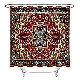 N/ Patrón Floral Persa Textura Tribal Cortina de Ducha Ganchos de Tela Impermeables 183 * 183CM