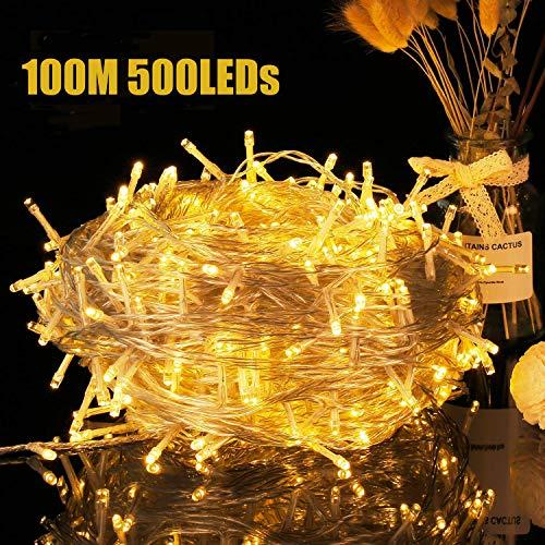 500er LEDs 100M Lichterkette Weihnachtsbeleuchtung - Avoalre Lichterkette außen mit 8 Modi und Memory-Funktion, Lichterkette strombetrieben Deko für Innen Außen Neujahr Weihnachten Party Hochzeit